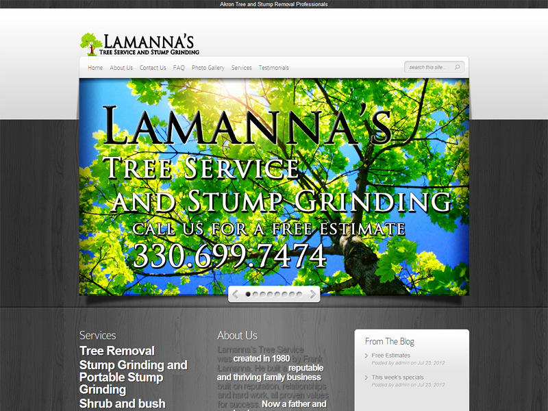 lamanna's tree service homepage image web design by dlb web media