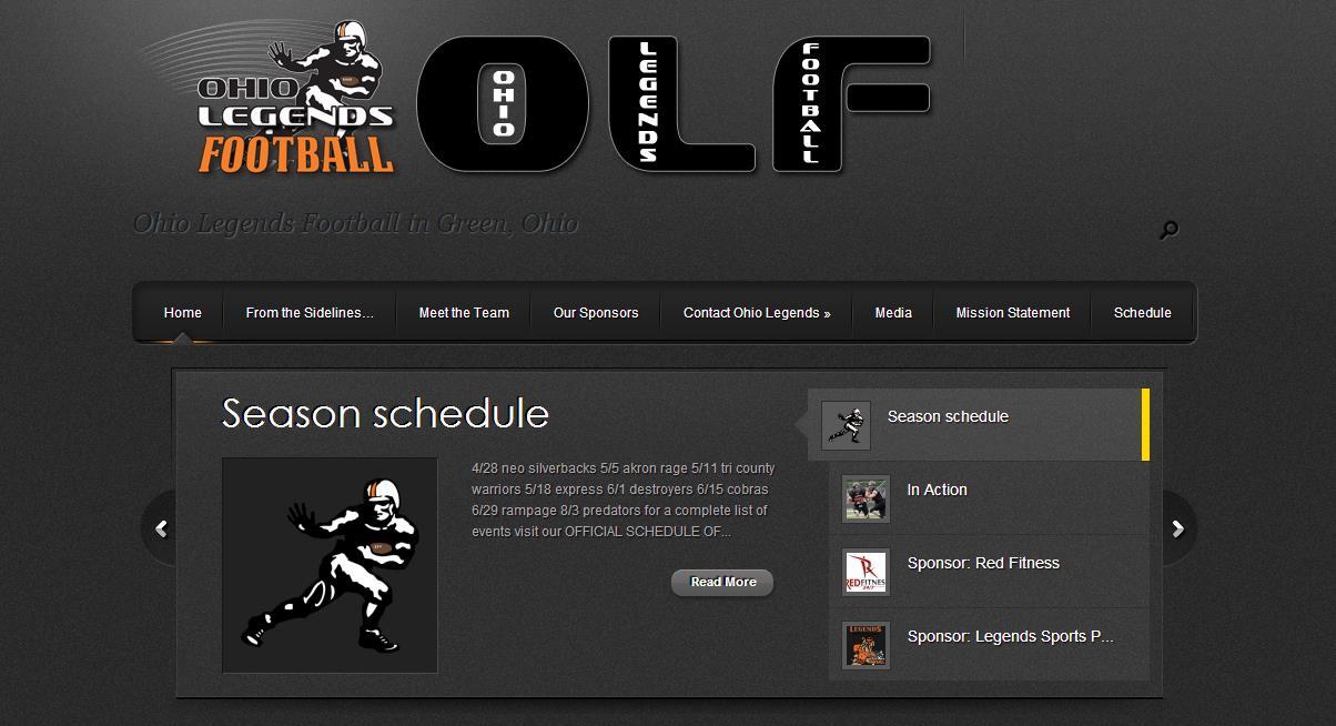 ohio legends football website designed by dlb web media