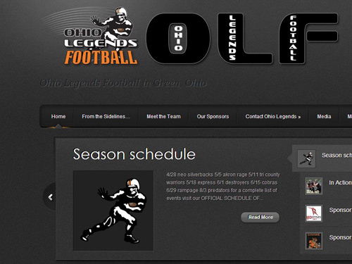 Ohio Legends Football – Website Design