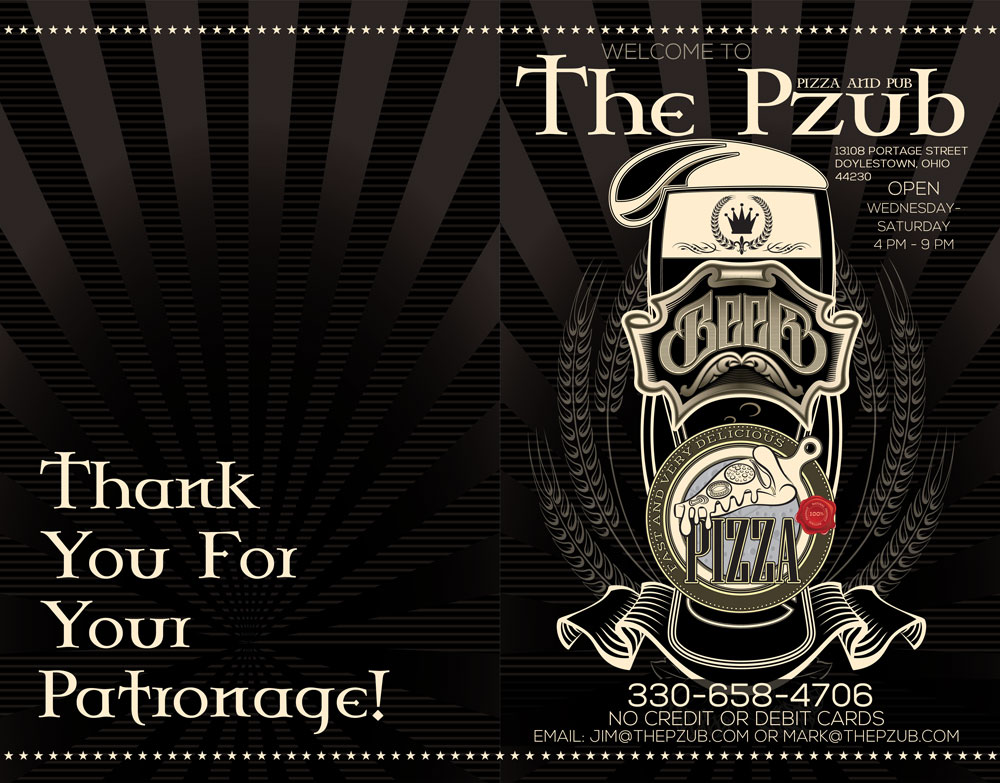 The PZUB Pizza & Pub – Print Design