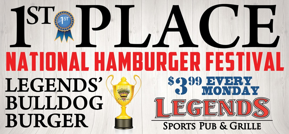 billboard design done by dlb web media for legends sports pub and grille for their award winning hamburger at hamburger fesival