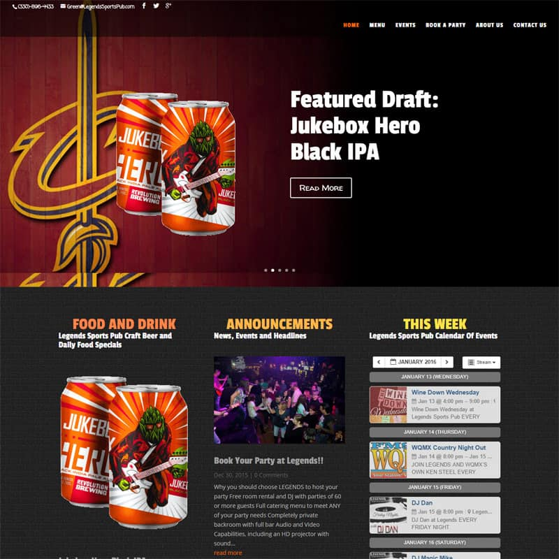 Legends Sports Pub – Website Design