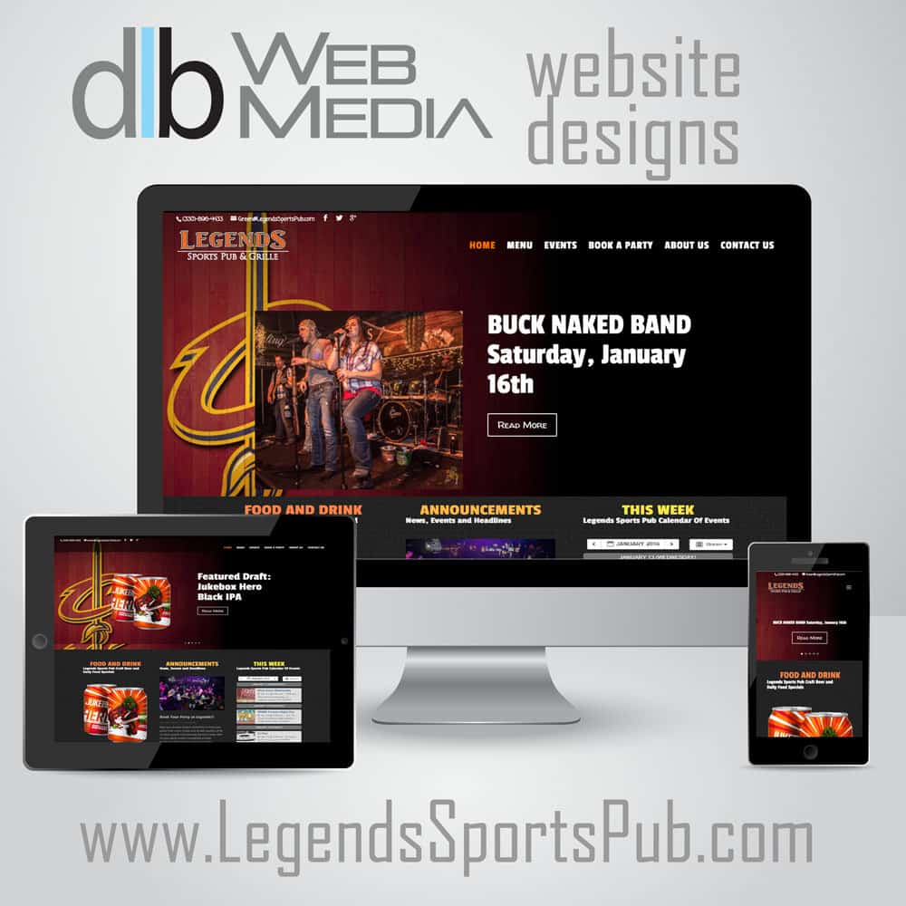 website design done by dlb web media for legends sports pub and grille