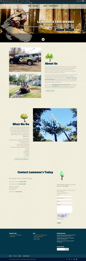 lamanna's tree services main image home page with logo