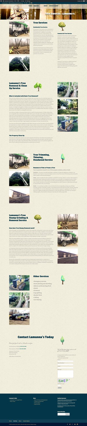 lamanna's tree services full screenshot services page