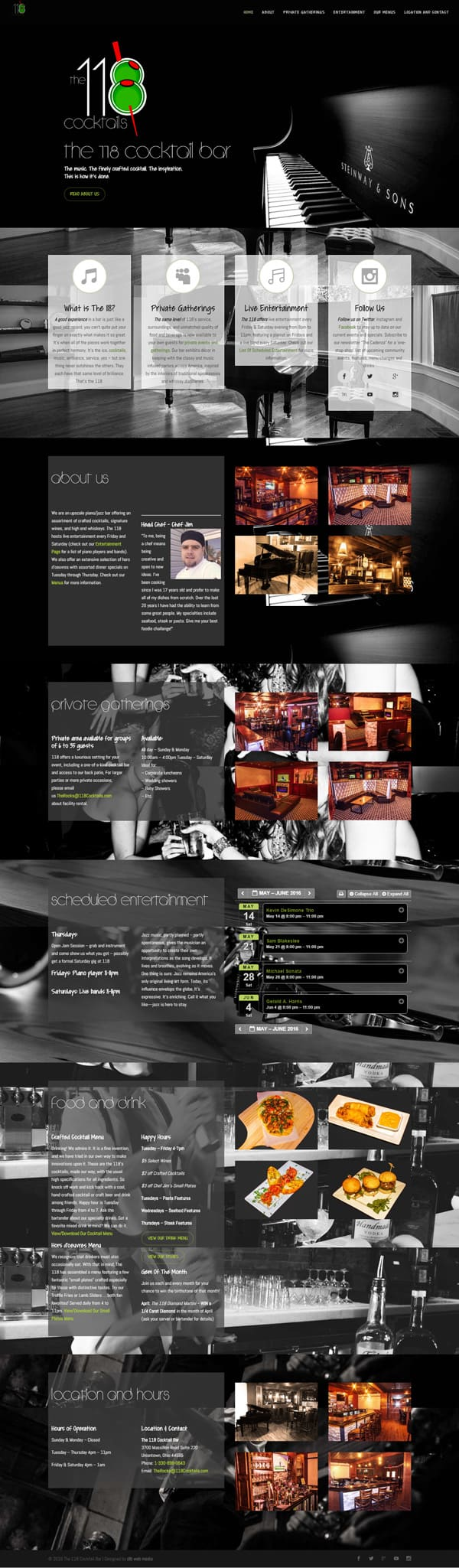 one page web design 118 cocktails.com