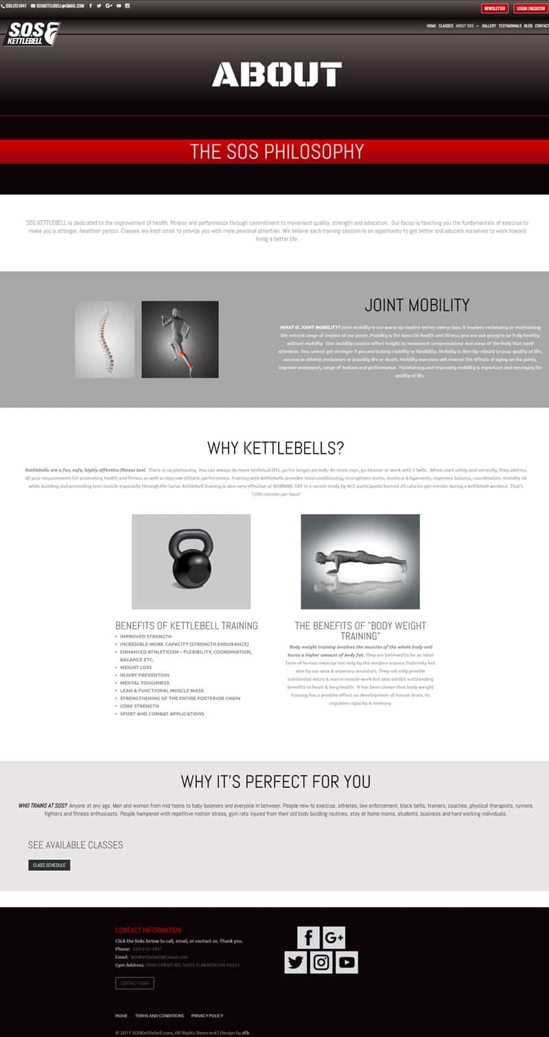sos kettlebell about page image design by dlb web media akron ohio