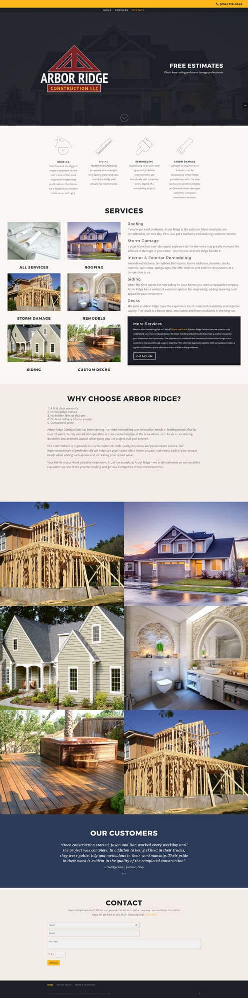 arbor ridge construction home page image design by dlb web media mogadore ohio