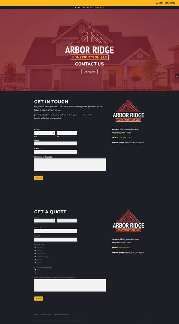 arbor ridge construction contact page by dlb web media akron ohio