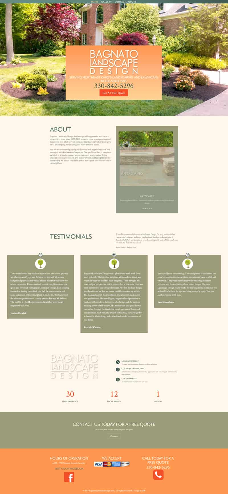 bagnato landscape design home page website design by dlb web media akron ohio