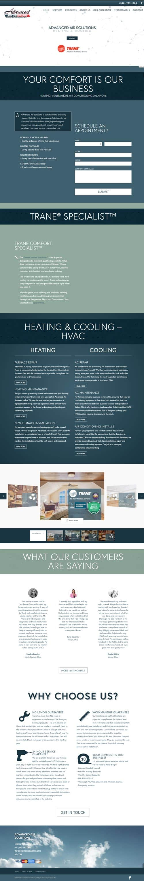 advanced air solutions website design by dlb web media home page