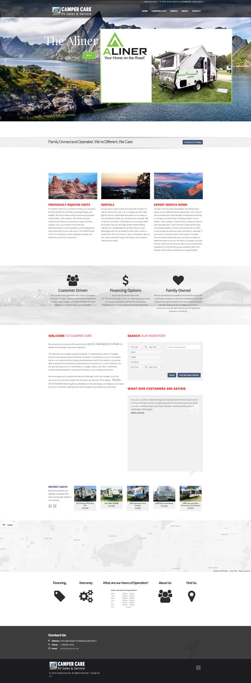 camper care web redesign by dlb web media