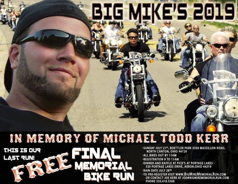 The The Big Mike Memorial Run Website flyer